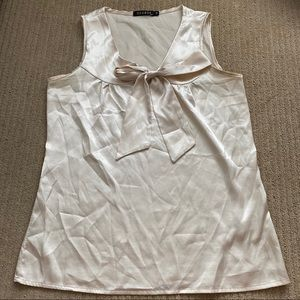 Cream Silk (poly) Blouse with Tie